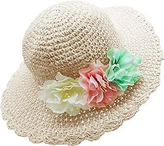 Girl Kids Summer Wide Brim Floppy Beach Sun Visor Hat with Flowers