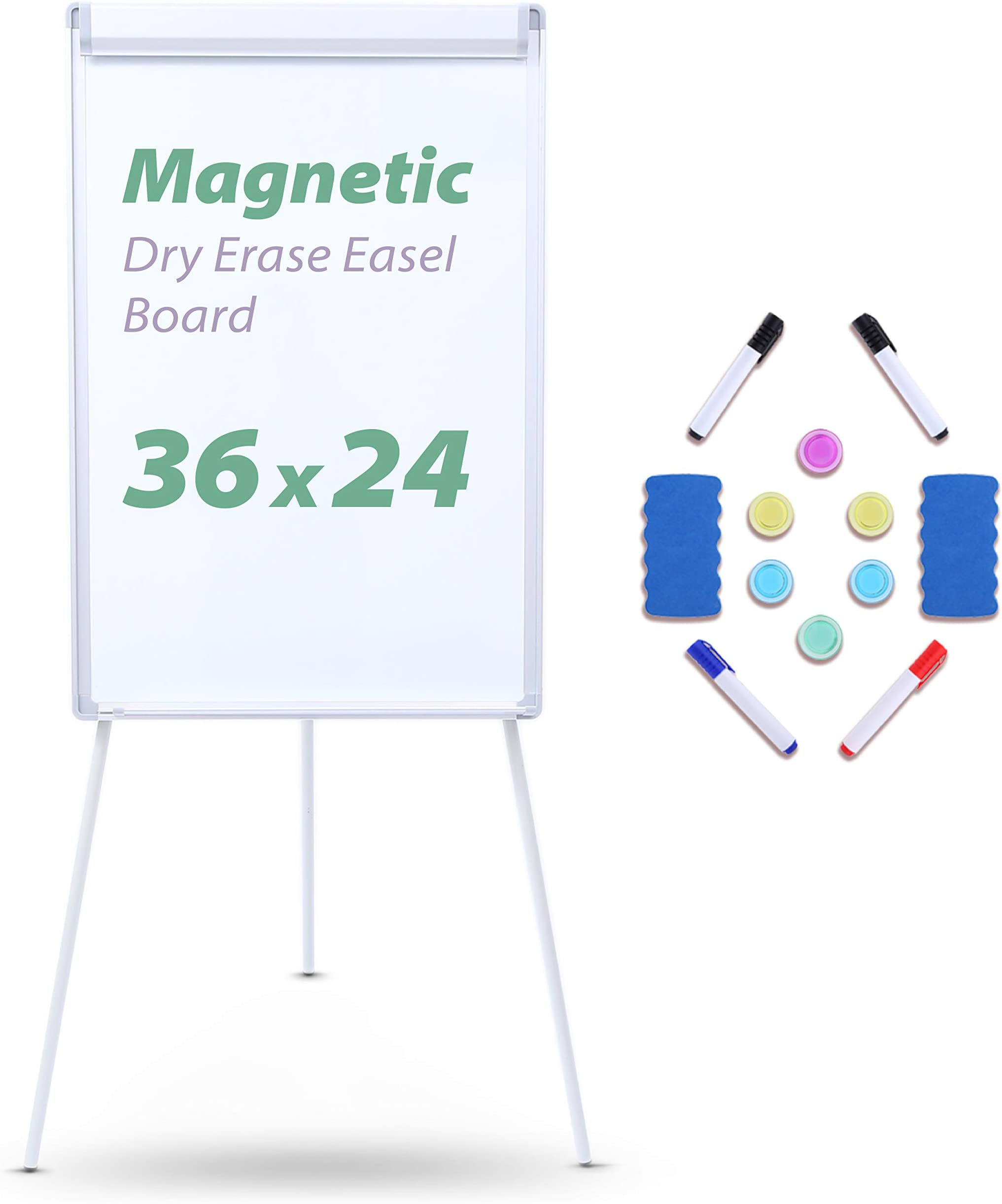 Easel Stand Whiteboard, Ohuhu 36x24 inch Magnetic Tripod Dry Erase Board, Adjustable Height Light White Board, Stand Flipchart Easel with 4 Dry Erase Markers, 2 Erasers and 6 Magnets for Office, Home