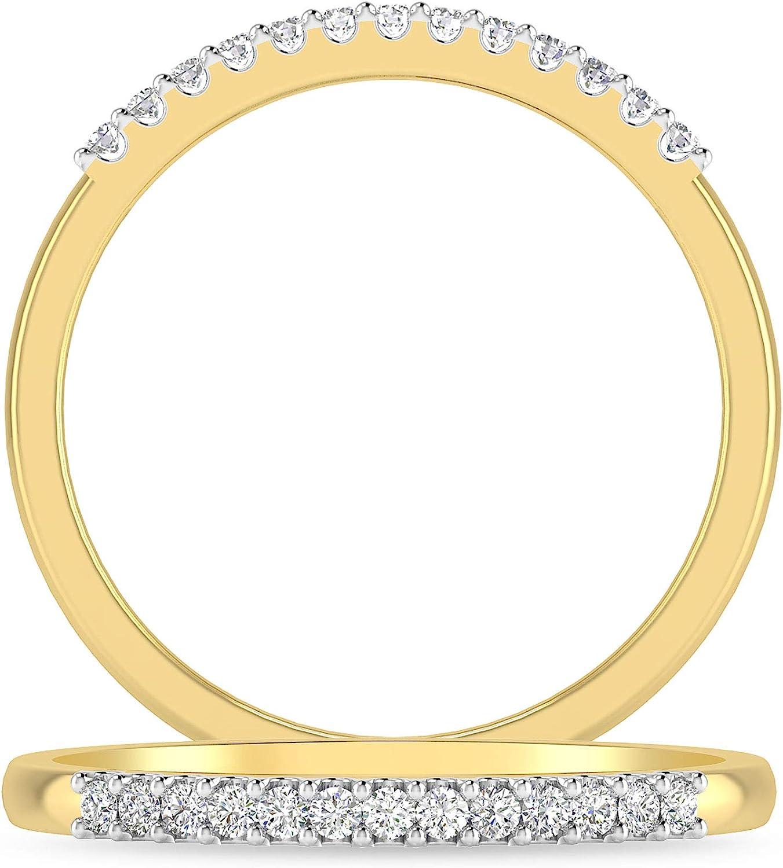 Inspereza 1/10 Carat 10kt Gold Diamond Petite Wedding Anniversary Stackable Band. (H-I Color, I2-I3 Clarity)