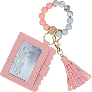 Wristlet Keychain Bracelet Holder, Key Ring Silicone Car Wallet Beaded Bangle With Card Leather Tassel for Women and Girls