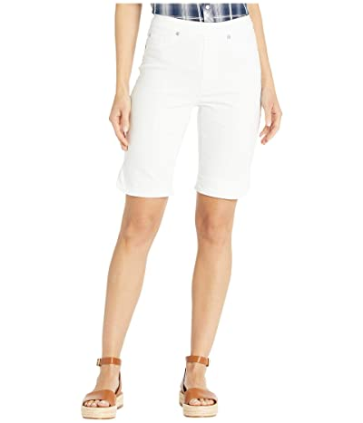 Tribal Pull-On Bermuda Shorts w/ Curved Side Slit (White) Women