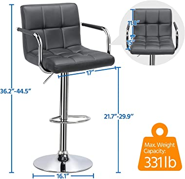 YAHEETECH Counter Height Bar Stools Set of 2 PU Leather Swivel BarStools for Kitchen Stool Height Adjustable Counter Stool Ba