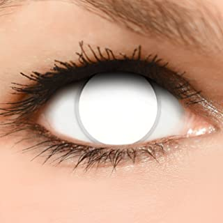 0127ddcd49 FUNZERA® Lentillas de Colores Blind White + recipiente para lentes de  contacto, sin dioptrías