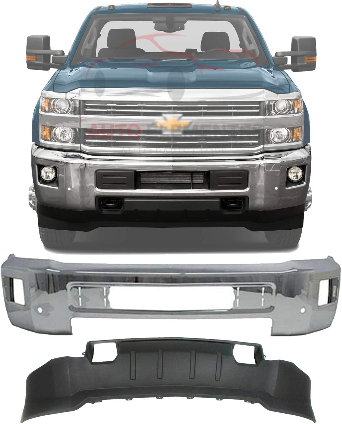 Buy New Front Bumper Chrome With Fog Light Parking Aid Sensor Holes Lower Valance Deflector With Tow Hook Holes Textured For 2015 2019 Chevrolet Silverado 2500hd 3500hd Direct Replacement 23229369 Online