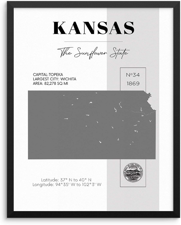 Amazon.com Kansas State Map Poster With Demographics Minimalist ...