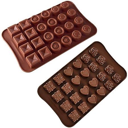 Jasinber Set de 2 Moldes de silicona para caramelo de chocolate para pasteles, caramelos duros y blandos, gomitas, gelatina (2 Pack)