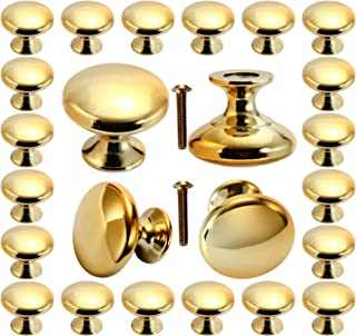 Cabinet knobs, POZEAN Gold Knobs 30 Pack Brushed Brass with Screws for Dresser Drawer Cabinet Cupboard, Perfect Kitchen Ca...