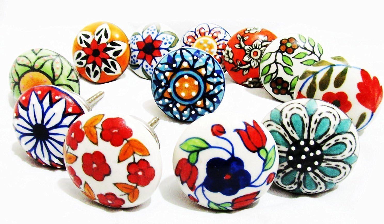 Multicolor Emboss Ceramic Door Knobs Handpainted Kitchen Cabinet Drawer Knobs Hardware Knobs Drawer Handles Decorative Ceramic Knobs Code 29