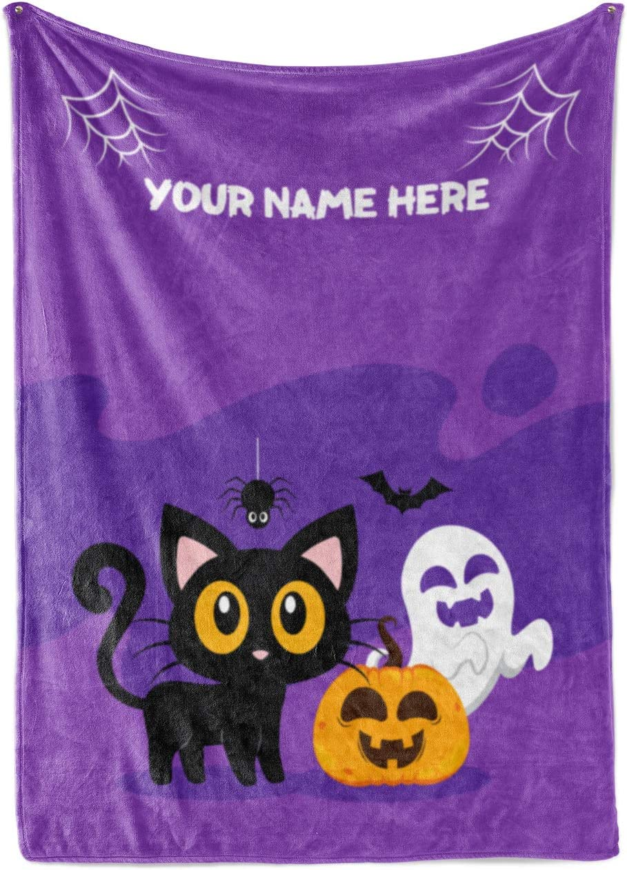 Personalized Black Cat Halloween Throw Max 50% OFF - Plush Warm free shipping Min Blanket