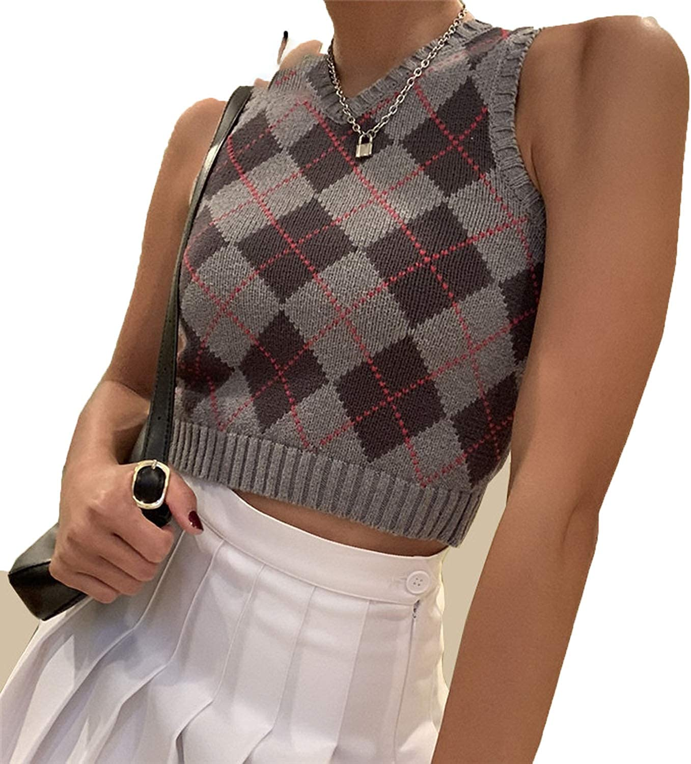 Sweater Vest Y2k Women Plaid Knitted V Neck Vest Sleeveless Knitted Jumper Ladies Pullover Vest Sweater Gilet Women Color : Sia-pink, Size : S