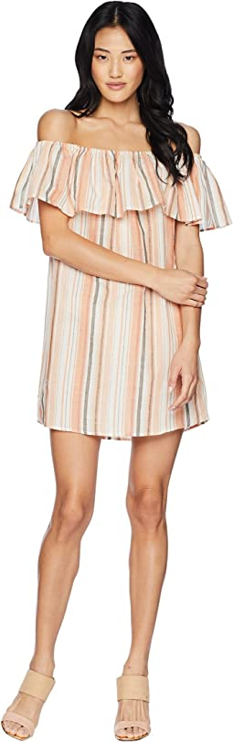 Sunset Stripe Off the Shoulder Dress