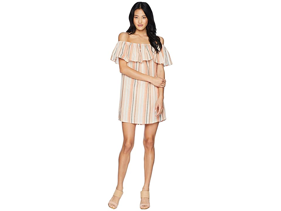Bishop + Young Sunset Stripe Off the Shoulder Dress (Orange White Stripe) Women