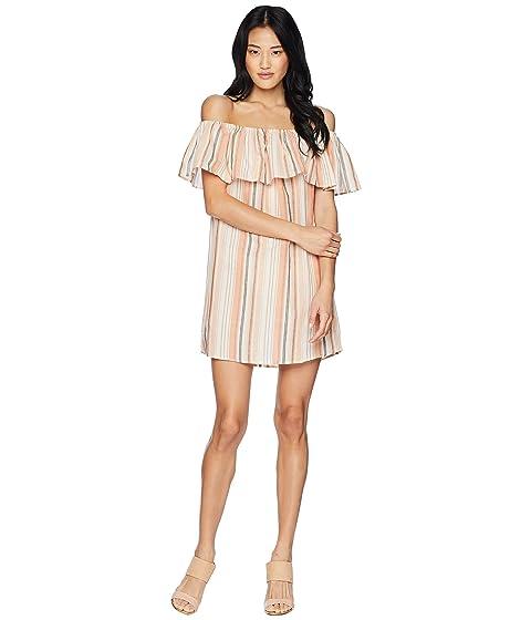 BISHOP + YOUNG Sunset Stripe Off The Shoulder Dress, Orange White Stripe