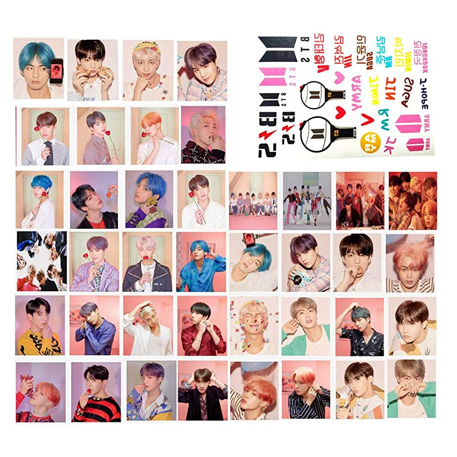 40PCS BTS MAP of The Soul Pesonal New BTS Album LOMO Card Set of Gift for A.R.M.Y- BTS Photo Postcard Set with 1 PCS Hemp Rope and 5 Photo Clips 2019