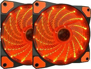 Apevia APEVIA AF212L-SOG 120mm Orange LED Ultra Silent Case Fan w/ 15 LEDs & Anti-Vibration Rubber Pads (2-pk)