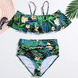 LYL 女性のための水着は文字列でフリルを印刷パターンハイスクールウエストビキニセクシービキニ (色 : ブラック, サイズ : L)