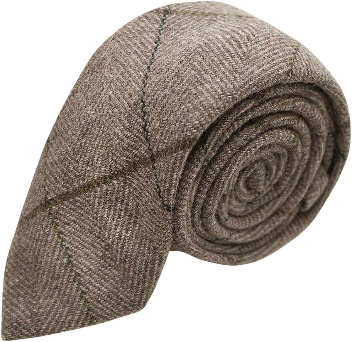 Luxury Light Khaki Brown Herringbone Check Necktie, Tweed