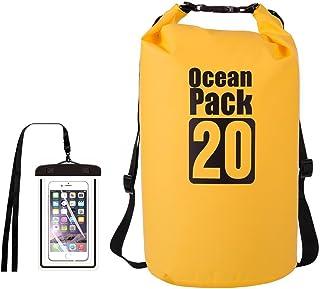 Floating Waterproof Dry Bag 5L/10L/15L//20L, Roll Top Sack Keeps Gear Dry for Kayaking, Rafting, Boating(Buy Dry Bags Free Waterproof Phone Bags) (Yellow, 15L(4 gal))