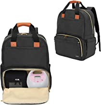 Luxja Breast Pump Backpack with Compartments for Cooler Bag and Laptop, Breast Pump Bag Suitable for Working Mothers (Fits Most Major Breast Pump), Black