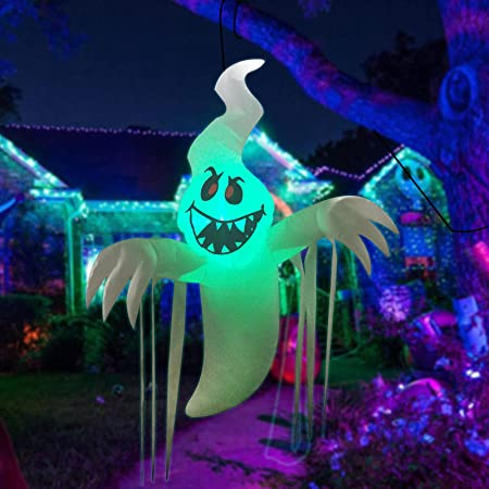 GOOSH 5 Feet High Halloween Inflatable Hanging Ghost with Built-in Colorful Flashing LED Light, Blow Up Yard Decoration Clearance with LED Lights Built-in for Holiday/Party/Yard/Garden