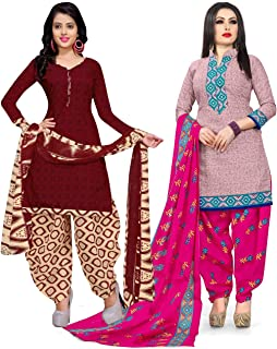 Rajnandini Women's Maroon and Pink Cotton Printed Unstitched Salwar Suit Material (Combo Of 2) (Free Size)