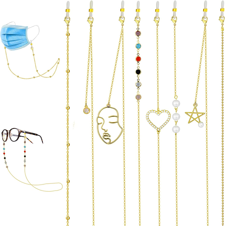 Sunssy 8PCS Gold Face Mask Lanyards for Women Men Glasses Chain Mask Necklace Holder Mask Hanging Chain Face Mask Lanyards for Adults Kids
