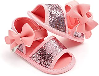 Endand 2019 Summer Toddler Baby Girls Boys Sandal Shoes 3 Style Sequined Solid Bow Hook Flat with Heel Bow Shoes 0-18M