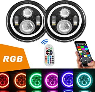 SUNPIE 7 inch LED Headlights Bulb(Built in CANBUS) Colorful RGB Halo Angel Eye for..