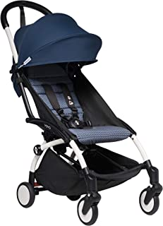 Babyzen YOYO2 Stroller - White Frame with Air France Blue Seat Cushion & Canopy