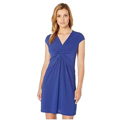 eci Cap Sleeve V-Neck Ruched Knit Dress (Navy/Orange) Women