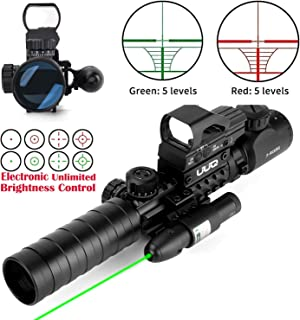 UUQ 3-9x40mm Tactical Illuminated Rifle Scope Range Finder Reticle W/Green(RED) Laser and Red Dot Sight