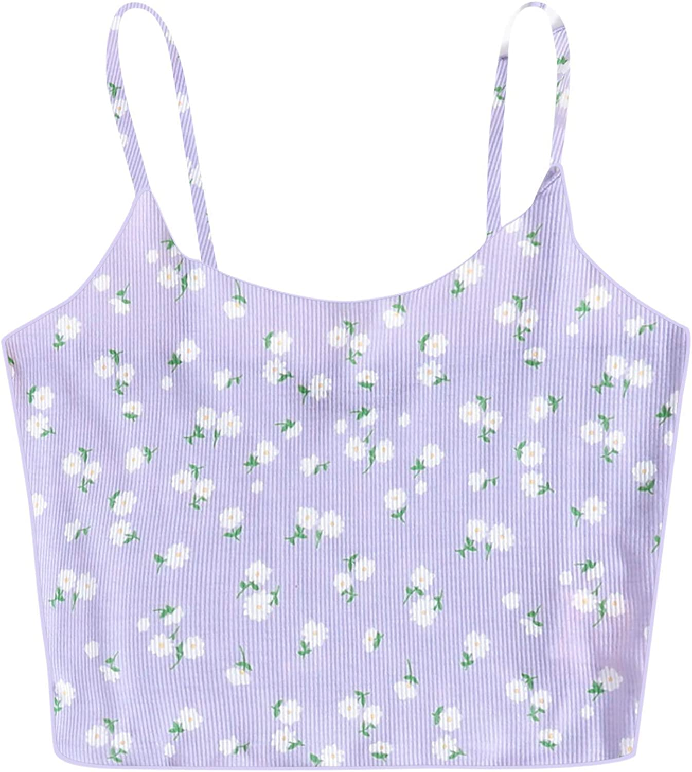 Spaghetti Strap Tank Top Max 42% OFF Crop Tops Sleev Casual for Floral In a popularity Women