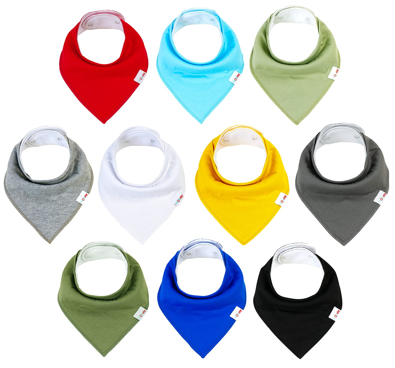 TheOBaby Baby Bandana Drool Bibs for Boys and Girls with Organic Cotton and Polyester - 10 Pack Soft Baby Teething Bibs with Super Absorbent Fabric (Solid Color)