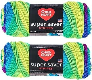 Bulk Buy: Red Heart Super Saver (2-Pack) (Parrot Stripe, 5 oz Each Skein)
