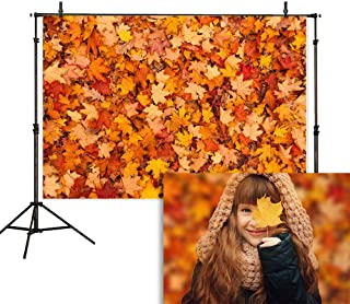 Allenjoy 5x7ft Autumn Leaves Photography Backdrop Outdoor Fall Colorful Fallen Maple Leaf Background Thanksgiving Harvest Party Supplies Decoration Cake Table Banner Photo Studio Booth Props