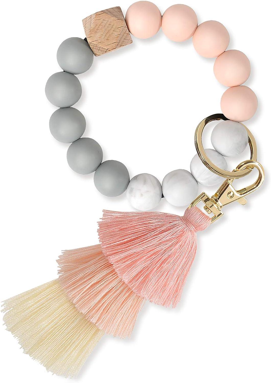 Keychain Bracelet Wristlet, YUOROS Car Beaded Key Ring Chain Holder For Women