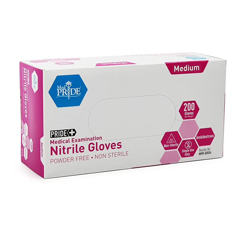 Medpride Medical Examination Nitrile Gloves  Medium Box of 200  Blue, Latex/Powder-Free, Non-Sterile   Professional Grade for Hospitals, Law Enforcement, Tattoo Artists, First Response, Home use