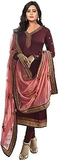 FashionUma Womens Georgette Satin Embroidered Straight Semi Stitched Salwar Suit(FU-S-F1275_Wine_Free Size)