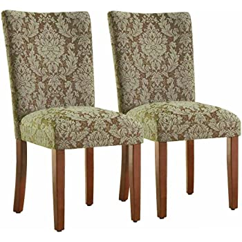 Amazon Com Catherine Print Parsons Dining Side Chair Blue Damask Fabric Set Of 2 Chairs