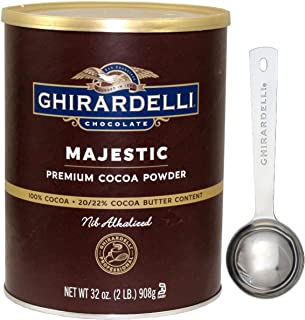 Ghirardelli Majestic Premium Cocoa Powder , 32 Ounce Can - with Limited Edition Measuring Spoon