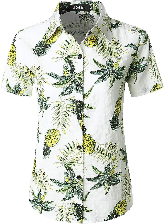 JOGAL Women's Floral Blouse Casual Button Down Short Sleeve Aloha Hawaiian Shirt