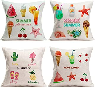Fukeen Summer Time Pillow Covers Ice Cream with Chocolate, WatermelonJuice, Fruit Decorative Holiday Home Cotton Linen Se...
