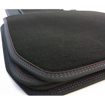 KH Pi/èces Tapis//Tapis de voiture en velours tapis haute qualit/é pour plastique 4/pi/èces Noir nubuck cuir Bordure couture double Rouge//Bleu