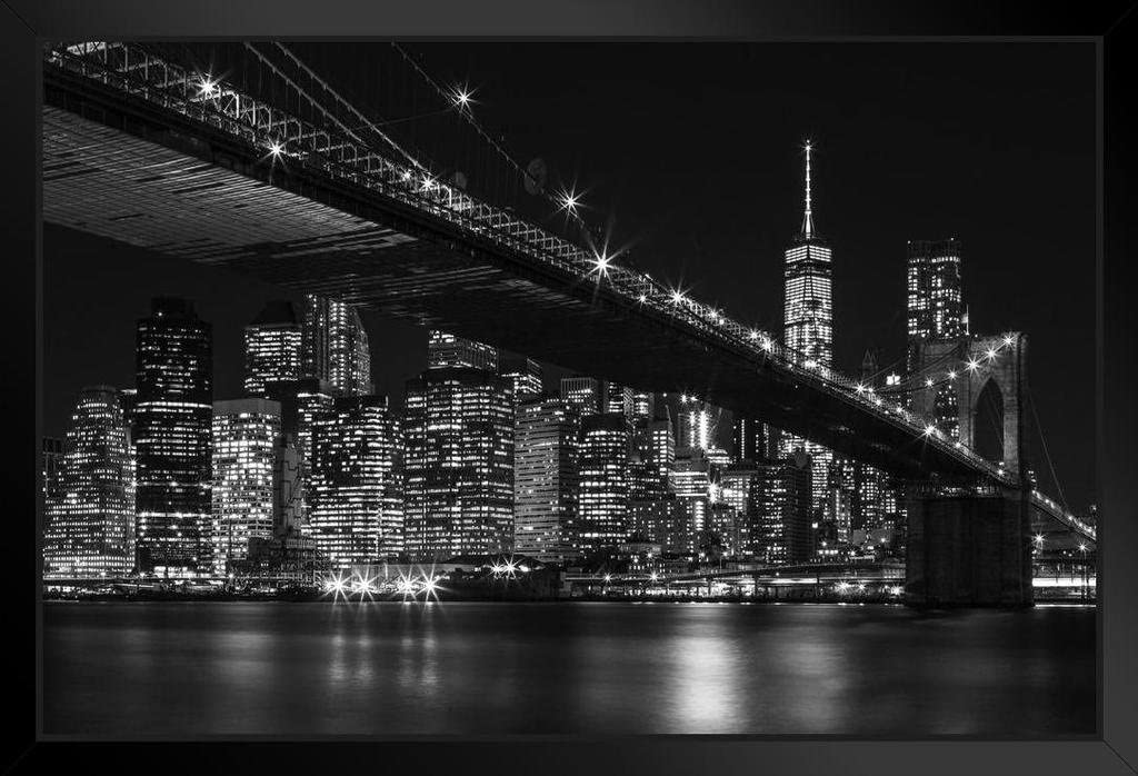 Brooklyn Bridge New York City Nyc Skyline At Night Black And White Photo Black Wood Framed Art Poster 20x14 Posters Prints