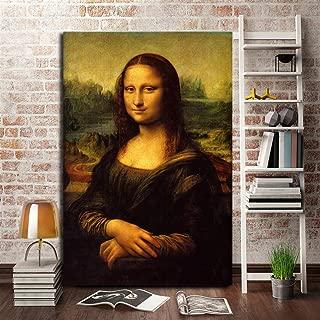 WJY The Mona Lisa Canvas Painting Leonardo Da Vinci Classic Vintage Oil Poster Print Modern Wall Art Picture Living Room Home Decor 40cm x60cm Sin Marco