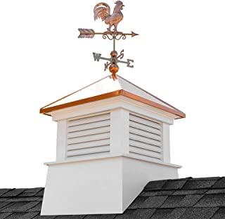 """Good Directions 2130MV-1975P 30"""" Square Manchester Vinyl Rooster Weathervane Cupola, White"""