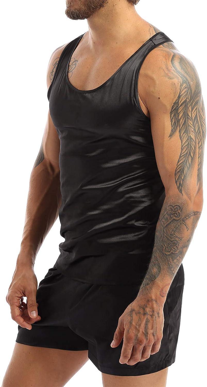 Aiihoo Men's Silky Satin Pajama Safety and trust Top Sleeveless Set Limited time sale Elastic Tank