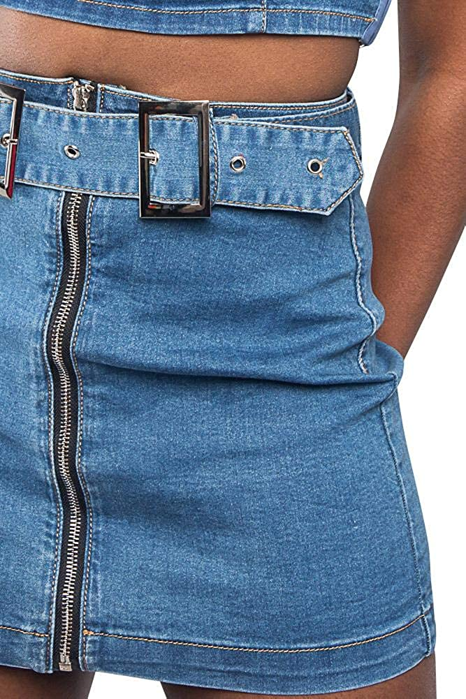 American Bazi Women's Classic High Waisted Above Knee Zipper Front Mini Skirts