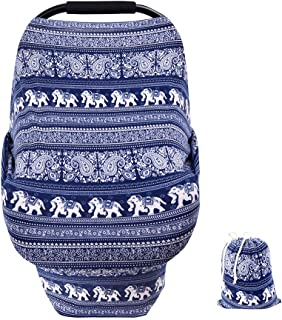 Nursing Cover Carseat Canopy Baby Car Seat Covers Super Soft&Breathable for Boys Girls Breastfeeding,High Chair,Shopping Cart, Stroller Cover-Best Stretchy Infinity Shawl Scarf(Ethnic Pattern)