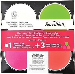 Speedball SB45027 Glo 'n Dark and Fluorescent Screen Printing Ink, 4 oz Jars, Set of 4